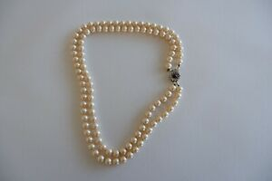 VINTAGE SIDE CLASP 2 ROW CREAM LUSTER FAUX PEARL NECKLACE  - C1940'S, SUPER SIZE