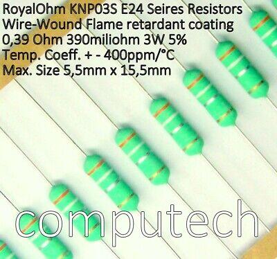 5 pezzi Resistenza a filo avvolto 3,3 Ohm 3W 5/% Royal Ohm KNP03S 3,3 R