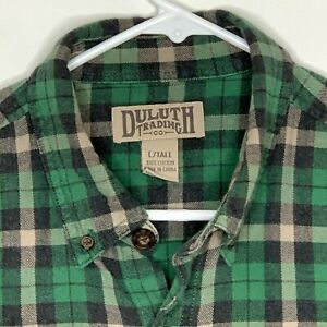 Duluth-Trading-Co-Mens-Flannel-Shirt-LS-Green-Blue-Plaid-Large-Tall