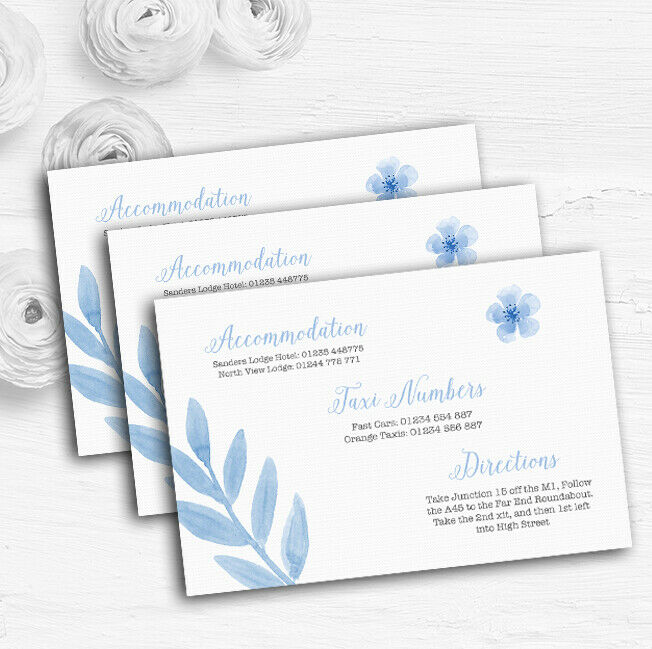 Watercolour Subtle Powder Baby Blau Personalised Wedding Guest Information Cards