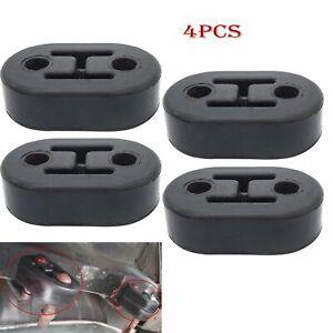 2PCS Black Car Rubber Exhaust 4 Holes Mount Bracket Tail Pipe Hanger Insulator