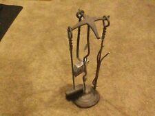 Fireplace Tool Set Holder 4 pc. Wrought Iron Stand,Shovel, Brush, Log turner