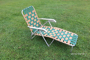 Image Is Loading Vintage Aluminum Frame Webbed Folding Lawn Chaise Lounge