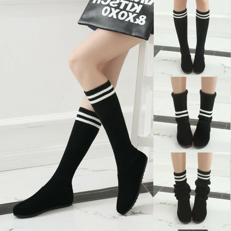 Womens 2018 Vogue Knitted Elasticated Pull On Mid Calf Socks Boots Shoes Sea198