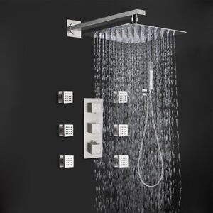 Thermostatic Shower Faucet Rainfall With Massage Body System Jets Mixer Chrome