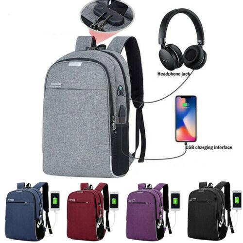 "16/"" Men Laptop Backpack Notebook Rucksack School Sports Travel USB Charging Bag"