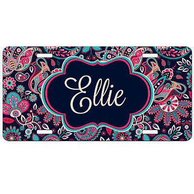 Paisley Personalized Monogrammed License Plate Pink Red Blue Purple Monogram Tag