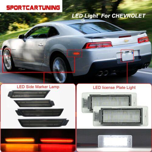 Smoke Lens Front Rear LED Side Marker license plate light For 10-15 Chevy Camaro