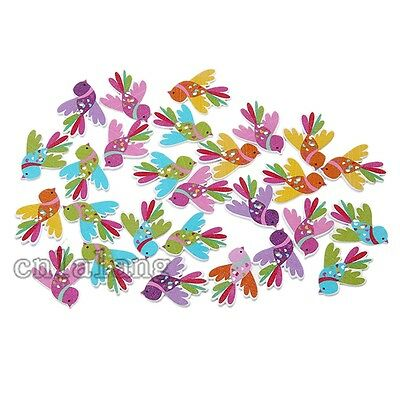 50pcs Mixed Color Birds Wooden Buttons Fit Sewing Scrapbooking Crafts 2 Holes C