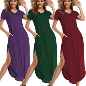 Women TShirt Long Maxi Dress Split Evening Party Casual Shirt Dress Summer Beach