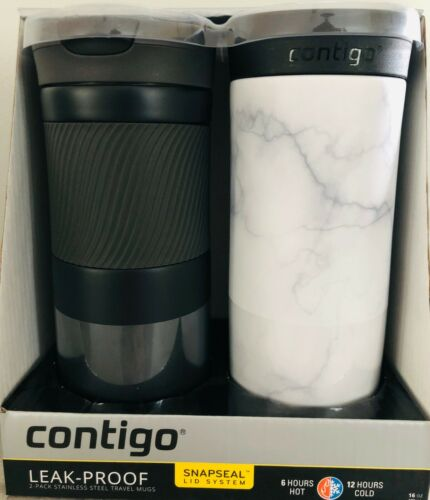 keep hot or cold Travel Mug 2 pack SNAPSEAL Byron Stainless Steel