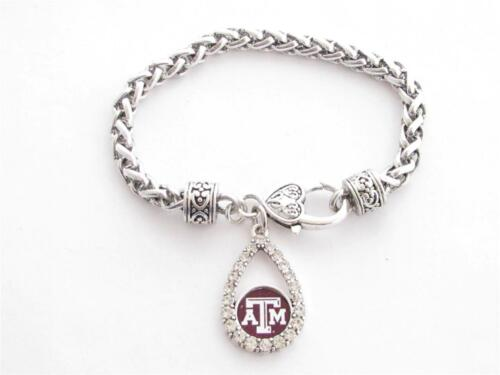 Texas A/&M Aggies Maroon Teardrop Crystal Silver Womens Bracelet Jewelry TA/&M
