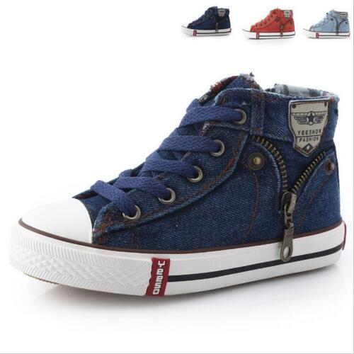 NEW Boys Canvas Tennis Shoes Athletic Sneakers Youth Kids Casual Denim Skate