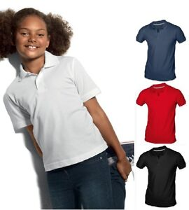 Hanes-Childs-Boys-Girls-Plain-Organic-Cotton-Polo-Sports-School-Shirt-No-Logo
