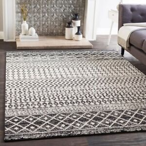 Details About Bohemian Rug Black White Area Geometric Moroccan Eclectic Shabby Chic 5 3 X 7 6