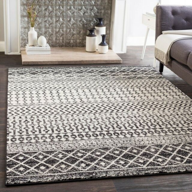 Bohemian Rug Black White Area Geometric
