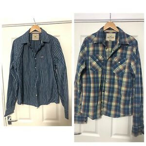 x2-Hollister-Mens-Shirt-Long-Sleeve-Size-XL-Stripes-Blue-Western-Style-C685