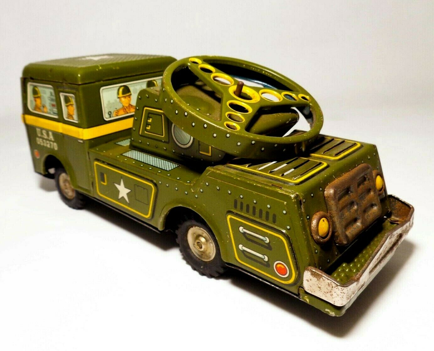 TN NOMURA (JAPAN) VINTAGE US ARMY PRESSED TIN LITHO FRICTION TOY MILITARY TRUCK