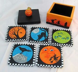 Hand-Painted-Vintage-Witch-Drinking-Coasters-Set-Caddy-Primitive-Halloween-Decor