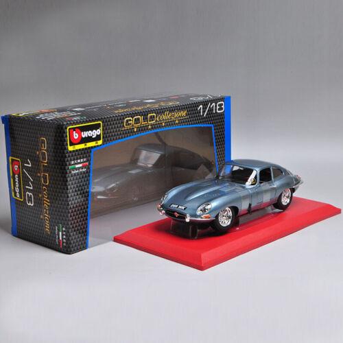 Bburago Gold Alloy Car Model for Jaguar E-Type Coupe 1:18 Silver Blue New in Box
