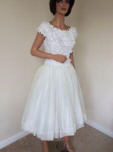 Bridal Tea-Length Vintage Short Wedding Dress Rockabilly 50s UK 10