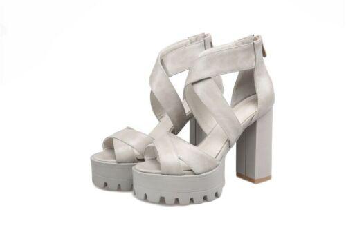 Gladiator Womens Open Toe High Heel Platform Sandals Shoes Back Zipper Roman
