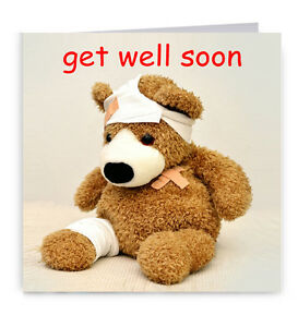 Get Well Soon Cute Teddy Bear Card | eBay
