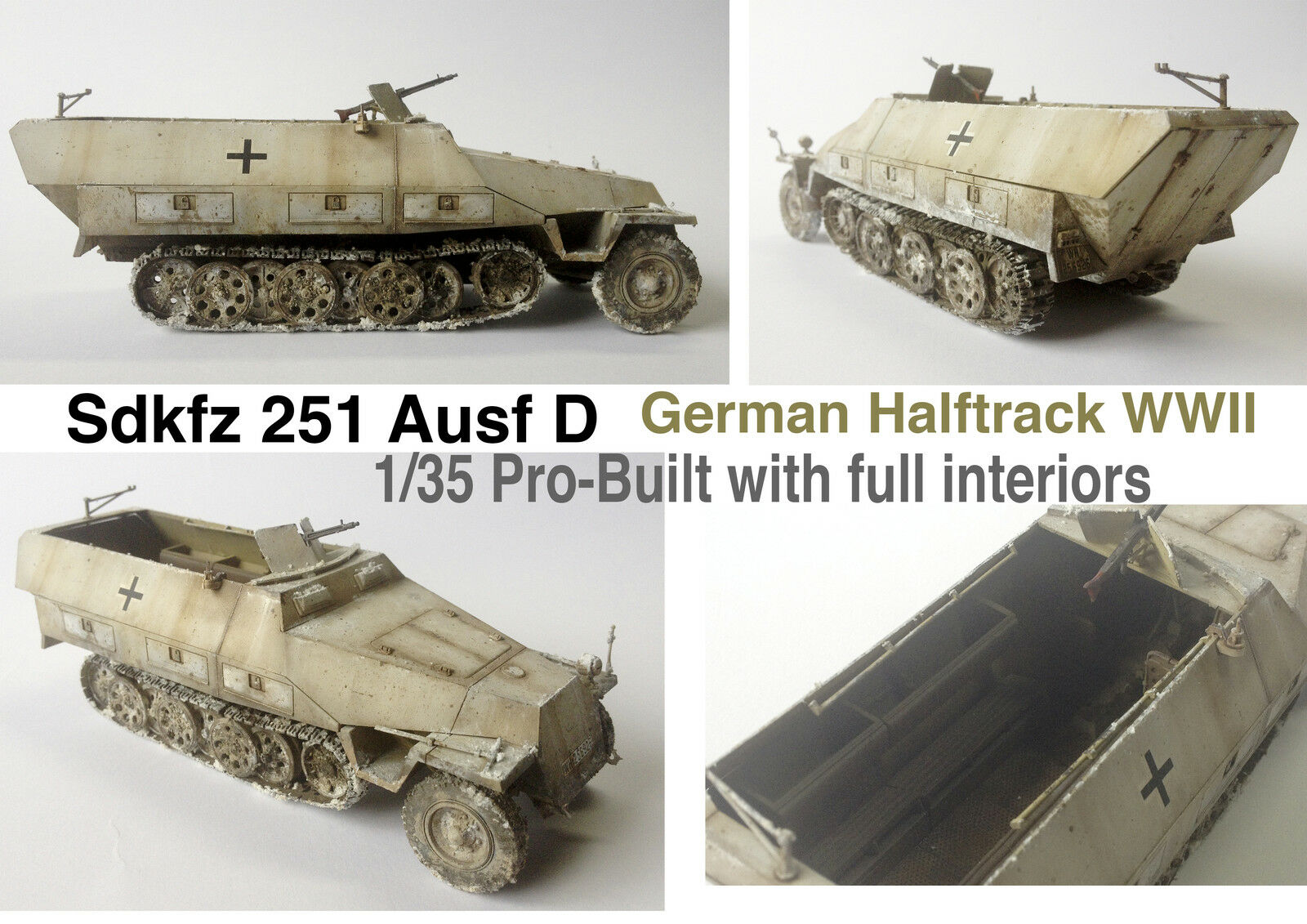 Sdkfz 251 Ausf D German Halftrack WWII 1 35 Pro-Built with full interiors