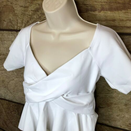 Carbon38 Womens Large Off The Shoulder Ruffle Short Sleeve Top Gym Athleisure