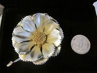 Vintage CORO Flower Pin/Brooch.(Silvertone Metal)(no stone).