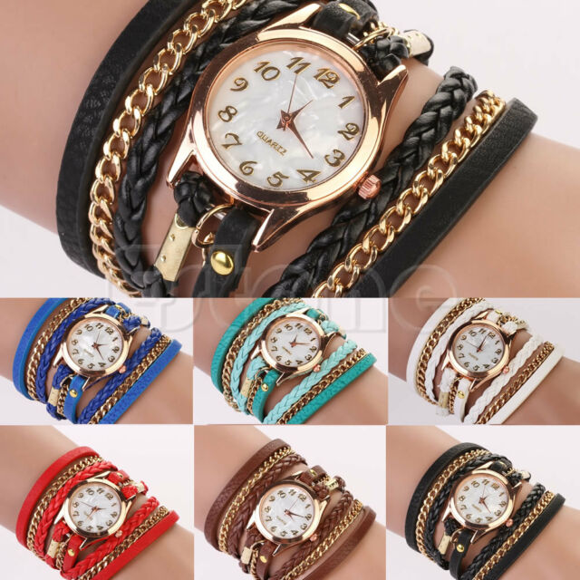 New Fashion Women Girl Faux Leather Rhinestone Sling Chain Quartz Wrist Watch