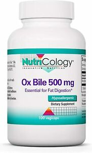 NutriCology Ox Bile 500 mg Fat Digestion Liver Metabolic GI Support - 100 Caps