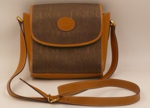80's Gucci Tan Leather & Canvas Crossbody Bag