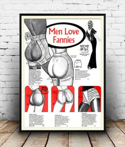 old magazine advert Reproduction. Men love Fannies Wall art Poster
