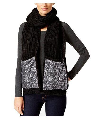 INC International Oversize Knit Sequined Pocket Scarf Black - Silver #C276