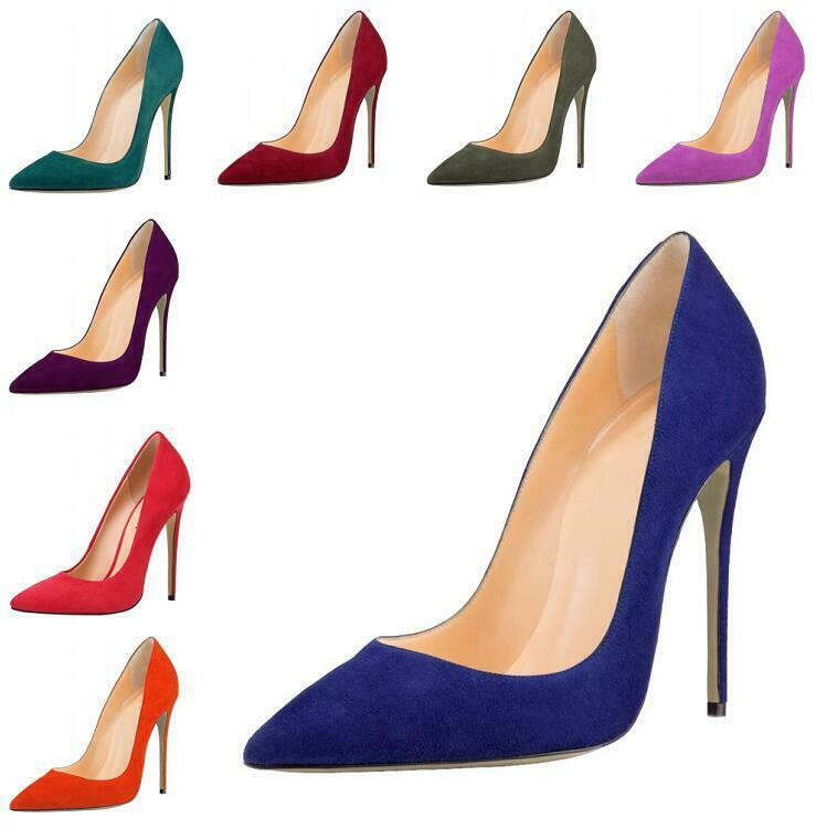 Occident Womens Sexy Suede Pointy Toe Pumps High Heel Stilettos Slip On shoes SZ