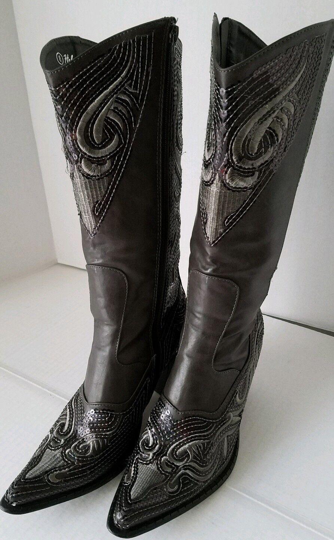Helens Heart Grau Cowboy Sequins Western Style Cowboy Grau Stiefel Größe 8 cbeeaf
