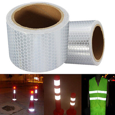 New Silver White Car Reflective Safety Warn Conspicuity Roll Tape Film Sticker