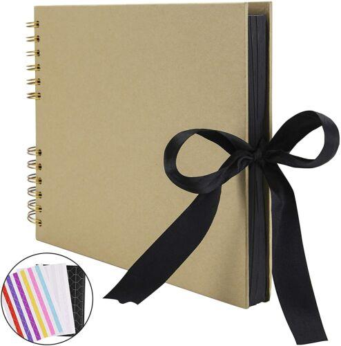 Scrapbook álbum de fotos libro de memoria de 80 páginas Negro A4 Artesanía Papel Hazlo tú mismo regalo nuevo Reino Unido