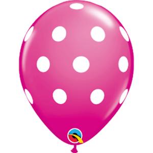 Wild-Berry-Pink-w-White-Polka-Dots-Set-of-12-11-034-Latex-Balloons