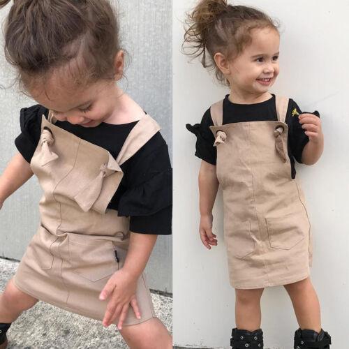 Mignon Enfant Bébé Fille Vêtements Princesse Fête Été Sangle Robe Tops 1-5 Y