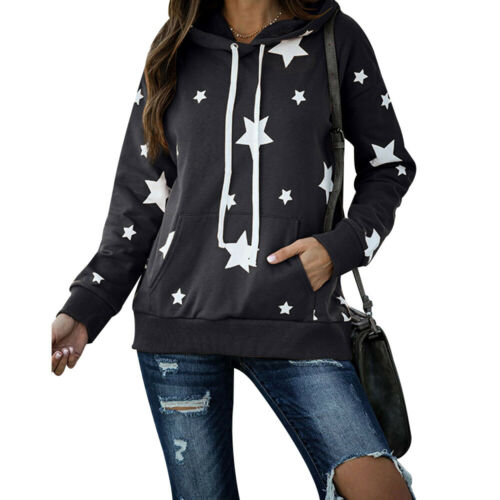 Women Hoodies Hooded Top Ladies Star Printed Blouse Shirt Jumper Pullover Pocket
