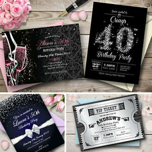 personalised birthday invitations party invites 18th 21st 30th