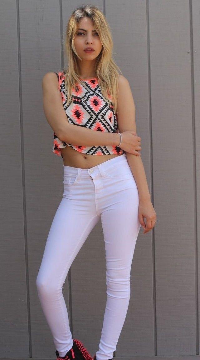 Flying Monkey Jeans L7516 WH High Waist Skinny Denim White 28 inch
