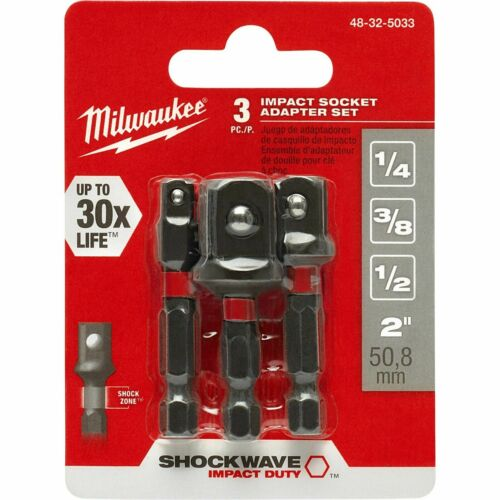"1//4, 3//8, Milwaukee 48-32-5033 Shockwave 3-Piece 1//4/"" Hex Shank Socket Adapters"