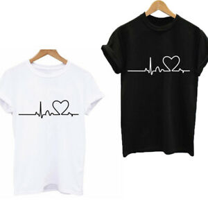 Fashion-Women-Ladies-Short-Sleeve-Casual-Tee-T-Shirt-Tops-Blouse-Heart-Printed