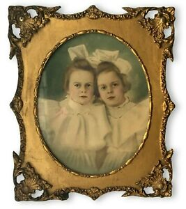 Lg Antique Frame Victorian Ornate Gesso Oval Gold Wavy Glass Colored Photo 26x21