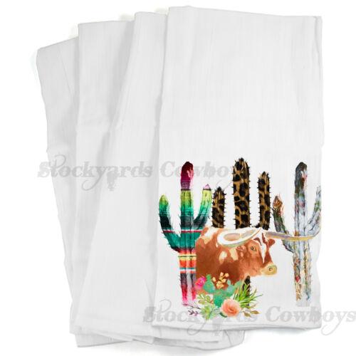 Cactus and Longhorn flour sack dish towel
