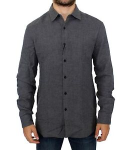 NWT $280 COSTUME NATIONAL C'N'C Gray Cotton Slim Fit Casual Shirt s. IT46 / S
