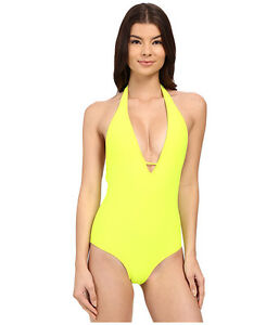 Body-Glove-Smoothies-Mona-One-Piece-Halter-Lime-Swimsuit-Size-M-1814